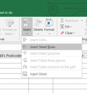 Excel Insert Sheet Rows menu command