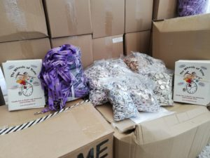 badges, lanyards, leaflets and boxes